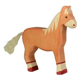 Houten paard lichtbruin 14 cm - Holztiger