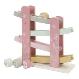 Houten rollerbaan bloemenweide roze met of zonder naam - Little dutch