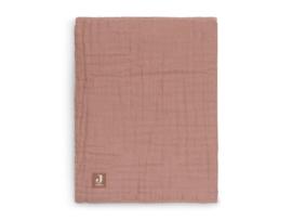 Deken wrinkled cotton 120x120cm rosewood - Jollein