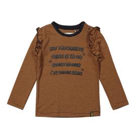 Meisjes shirt roestbruin gestreept - Koko Noko