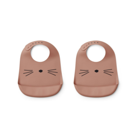 Siliconen slabben Cat dark rose (2-pack) - Liewood