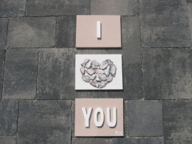 "Handgemaakt 3 luik ""I LOVE YOU"""