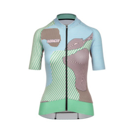 Bioracer Epic Jersey Women Kontur Green Pink - Maat XL
