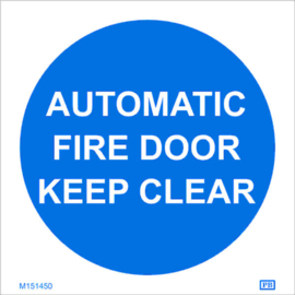 Imo sign automatic fire door keep clear