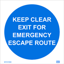 Imo sign keep clear exit emergency esc r