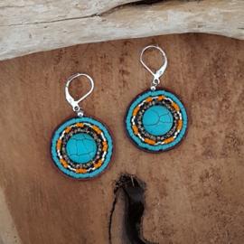 Miyuki Cabochon Turquoise oorbellen