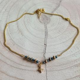 "Ketting Goudkleurig ""Boho"" blue beads"