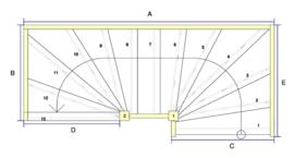 Vuren trap met onder en bovenkwart + aanloopboom (linksom)
