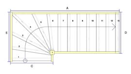 Vuren trap met onderkwart en aanloopboom (rechtsom)
