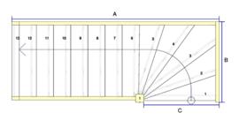 Vuren trap met onderkwart (linksom)
