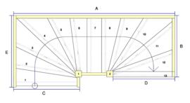 Vuren trap met onder en bovenkwart + aanloopboom (rechtsom)