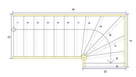 Vuren trap met bovenkwart en afloopboom (rechtsom)