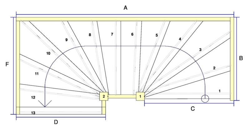 Vuren trap met onder en bovenkwart + afloopboom (linksom)