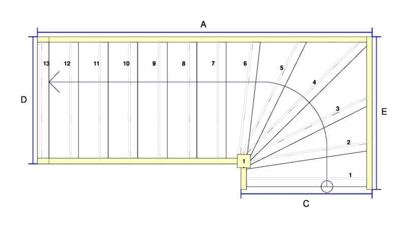 Vuren trap met onderkwart en aanloopboom (linksom)