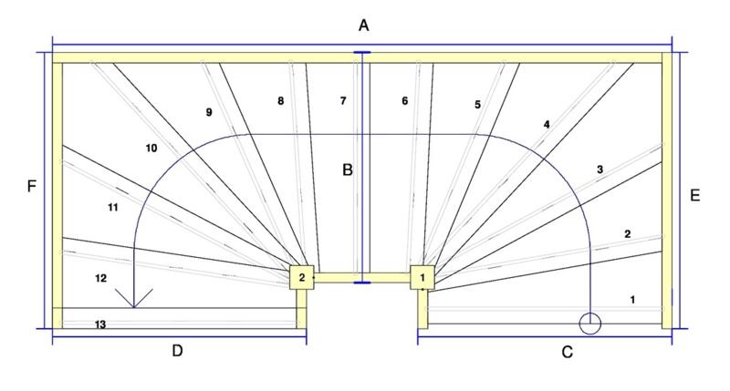 Vuren trap met onder en bovenkwart + aan- en afloopboom (linksom)