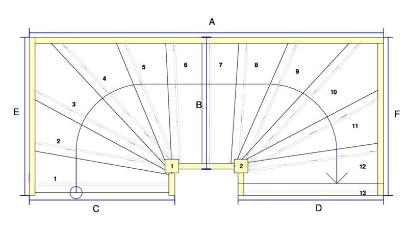 Vuren trap met onder en bovenkwart + aan- en afloopboom (rechtsom)