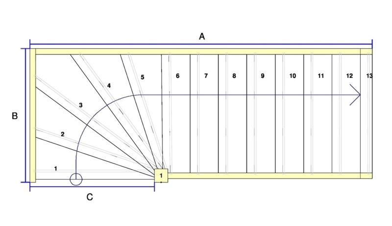 Vuren trap met onderkwart (rechtsom)