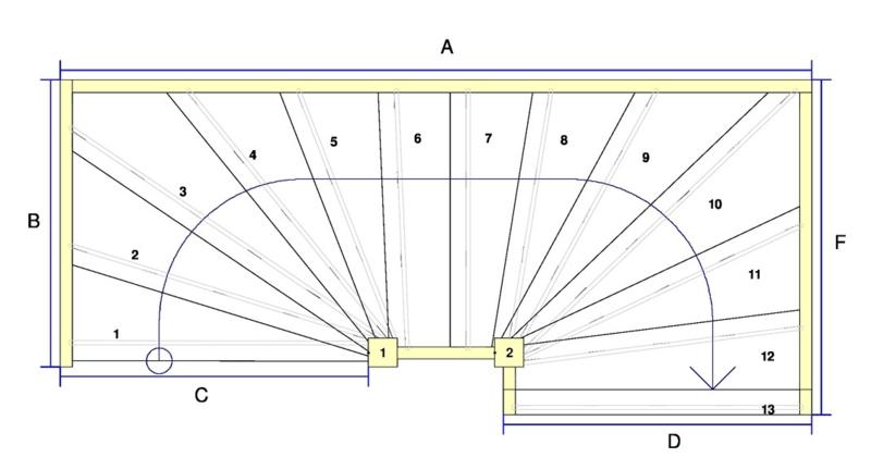 Vuren trap met onder en bovenkwart + afloopboom (rechtsom)