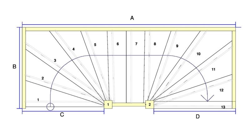 Vuren trap met onder en bovenkwart (rechtsom)