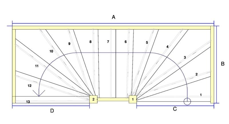 Vuren trap met onder en bovenkwart (linksom)