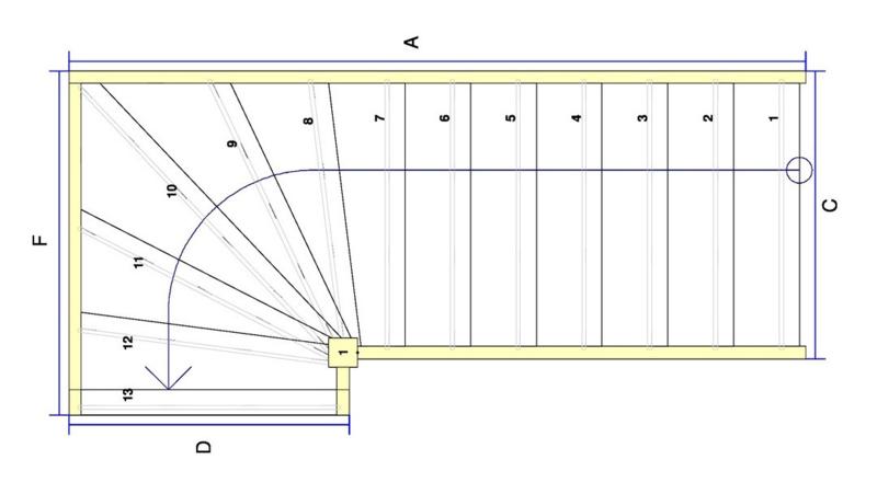 Vuren trap met bovenkwart en afloopboom (linksom)