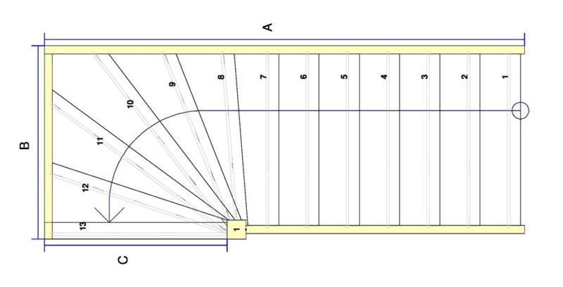 Vuren trap met bovenkwart (linksom)