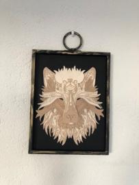 3D wolf met lijst
