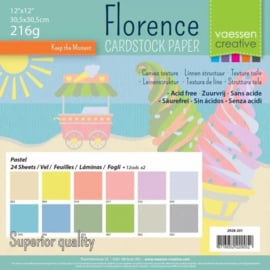 Florence cardstock 30,5 x 30,5 cm. Pastel, linnenstructuur