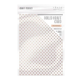 Tonic Studios Craft P. Foiled K.Card - Rose Gold Hearts 5 vellen, A4, 280 Gr.