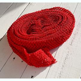 Gehaakt band Rood 7 cm (per 50 cm)