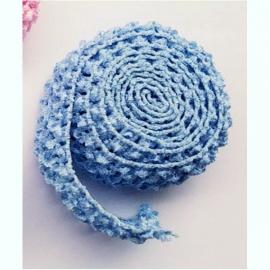 Gehaakt band Blauw 4 cm (per 50 cm)