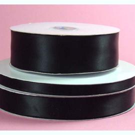 Lint Satijn (1.5 cm) per meter - Zwart