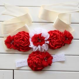 Set 2 : Bloemen Ceintuur met Haarband Rood/wit