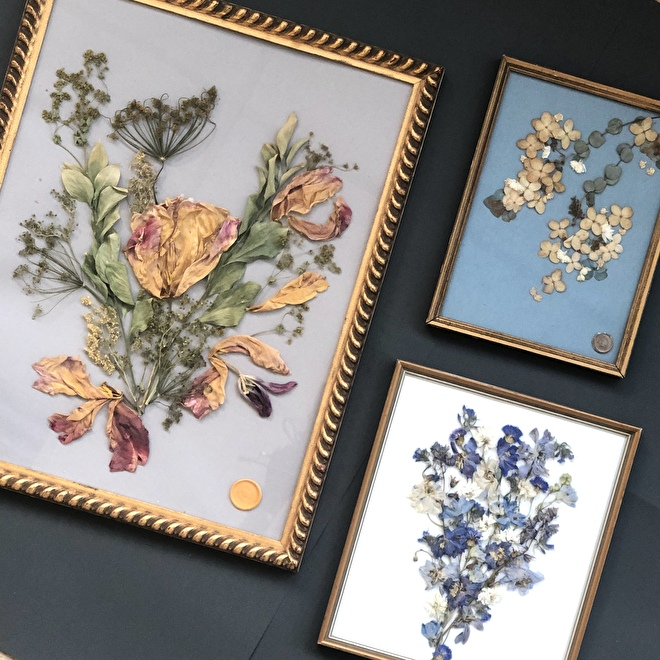 Dried flowers in frame