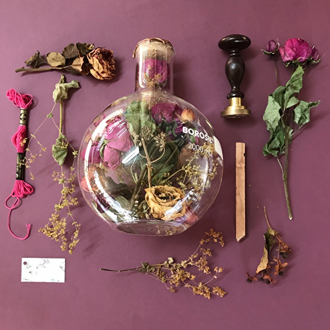 Dried wedding bouquet in bottle