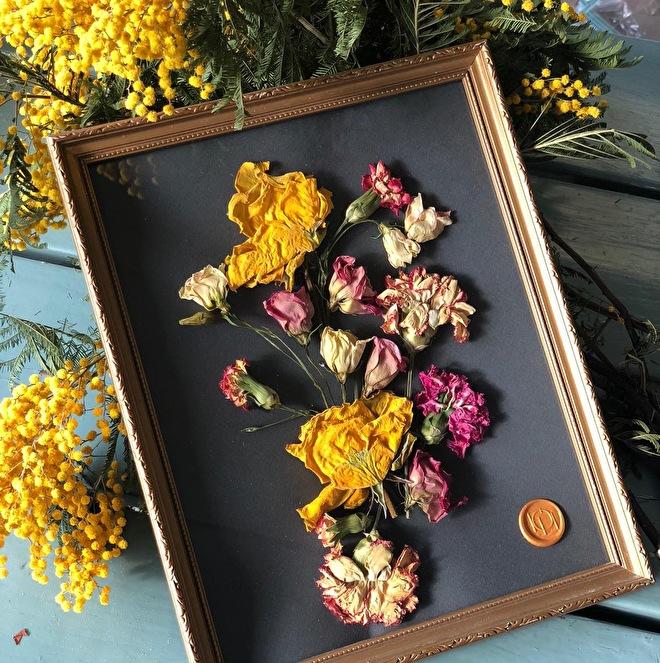 Gedroogde bloemen rouwboeket