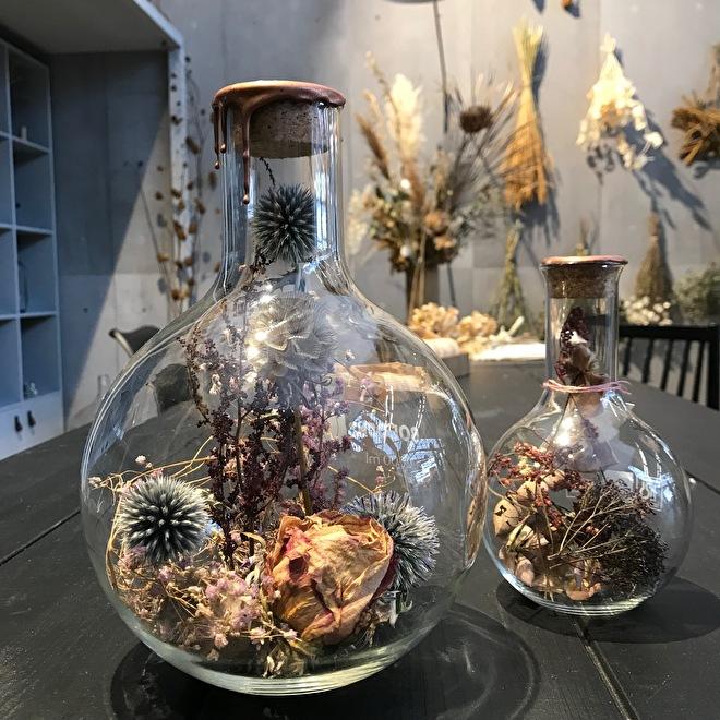 fleurs sechees dans bouteilles