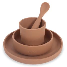Kinderserviesset Silliconen Caramel