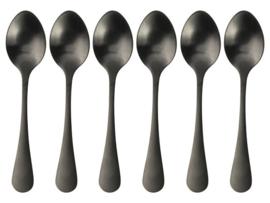 Koffielepeltjes 6-delig Zwart
