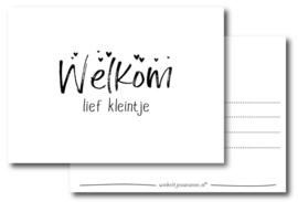 Kaart Welkom Lief Kleintje