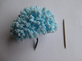 Bloemen foam met bollentjes lichtblauw
