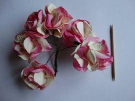 Bloemen groot donker roze  6 stuks
