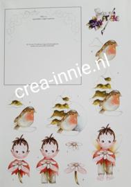 3d knipvel borduren chrissie roodborst en elfje met bloem