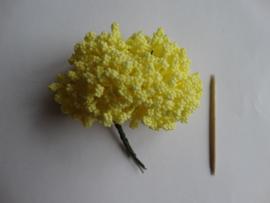 Bloemen foam met bollentjes geel