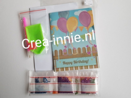 kaart happy birthday ballonnen en vlaggetjes