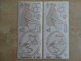 Stickervel Baby 9500 Starform Holografisch glitter Transparant met goud randje