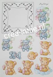 3d knipvel borduren francis patroon voor stickers. Beren met paardje en kindje in berenpak