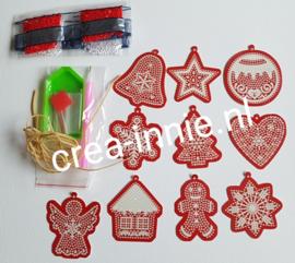 Kerstballen 10 stuks (karton) rood wit