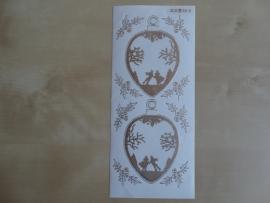 Stickervel Kerst Diverse 2212 Jeje Transparant met Goud