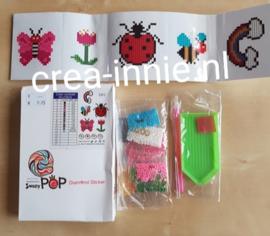 stickers D03 regenboog, bij, lieveheersbeestje, vlinder en bloem